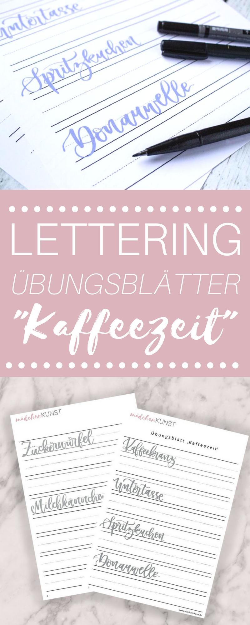 Lettering übungsblatt Kaffeezeit Bullet Journal Pinterest