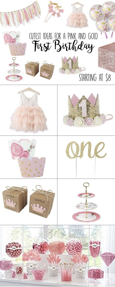 Pink and Gold First Birthday Party Theme Ideas - 1st Birthday Girl #firstbirthdaygirl