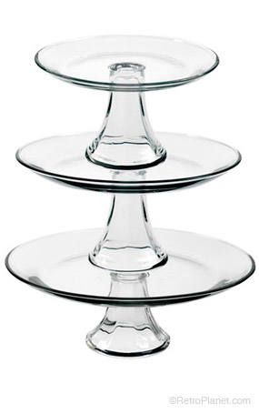 Serving stand, 3 tiers clear glass