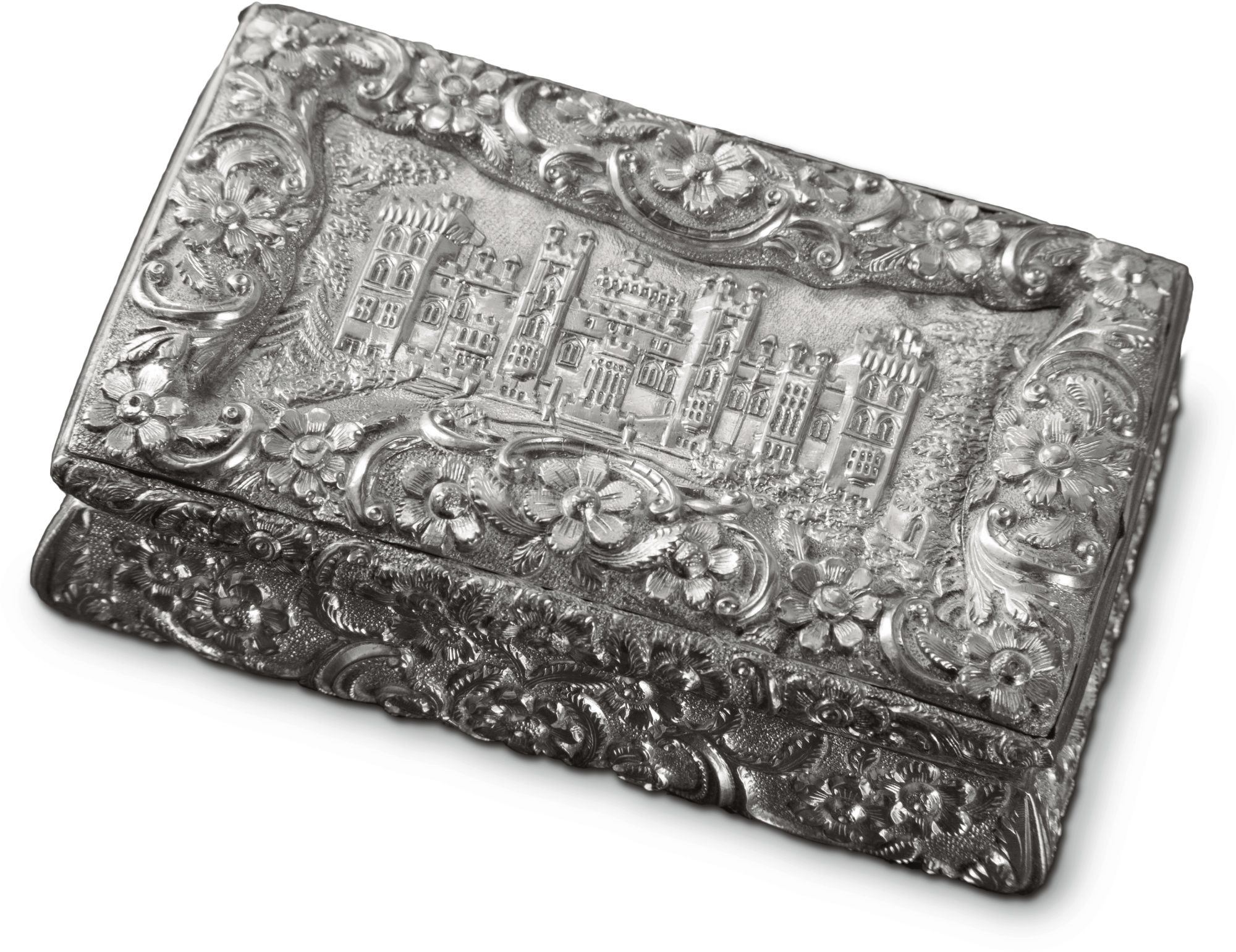 a victorian silver snuff box with view of windsor castle, joseph