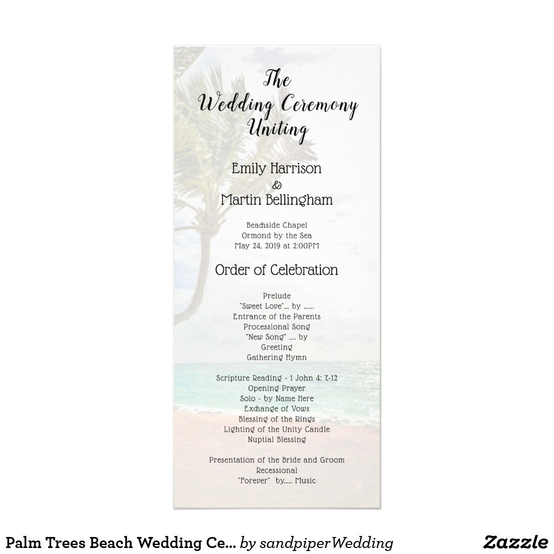 Palm Trees Tropical Wedding Program Template With Text On Both Sides Of Tall Paper Beachweddingprogram Tallprogram Ceremony Programtemplate Palmtrees
