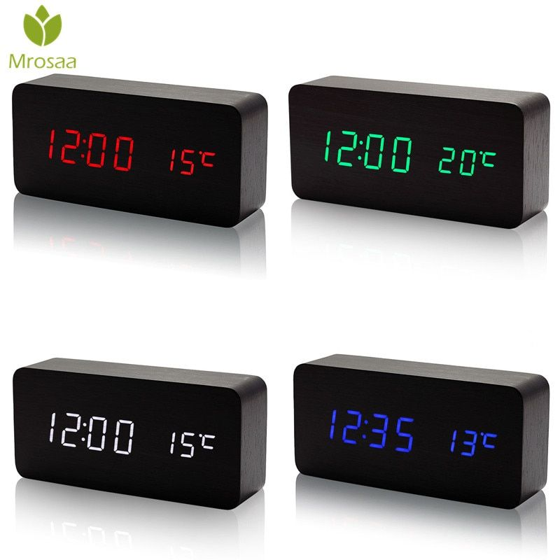 Mrosaa LED Digital Clocks Temperature Sounds Control Wooden