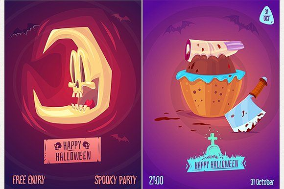 Halloween posters set3 Badge logo, Vector stock and Logos - halloween poster ideas