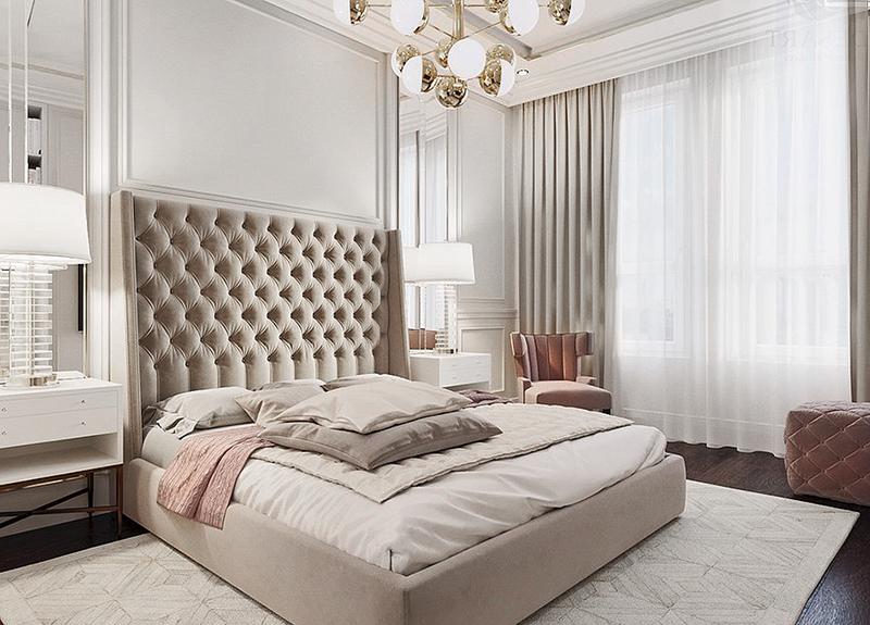 Beautiful Modern beige luxury bedroom decor with beige