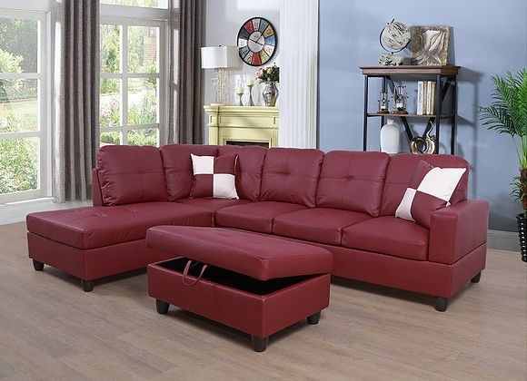 Wondrous F094A 3 Pc Aiden Red Faux Leather Sectional Sofa With Chaise Gmtry Best Dining Table And Chair Ideas Images Gmtryco