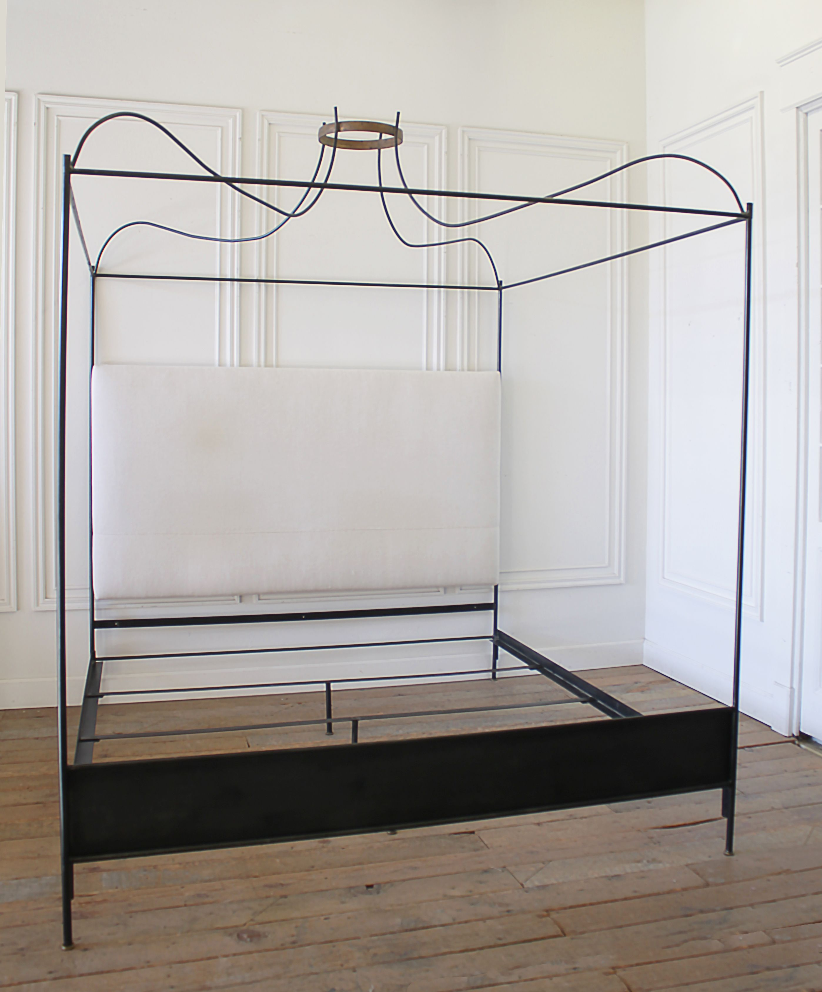 King Size Iron Canopy Bed with Upholstered