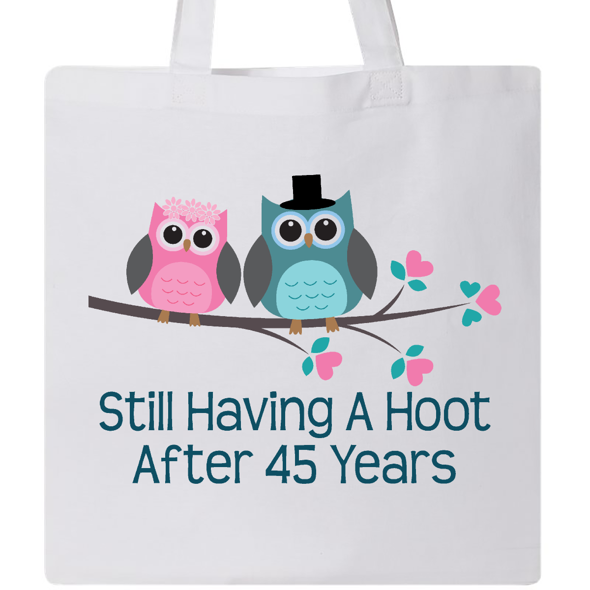 Gift For 45th Wedding Anniversary Hoot Tote Bag White $9