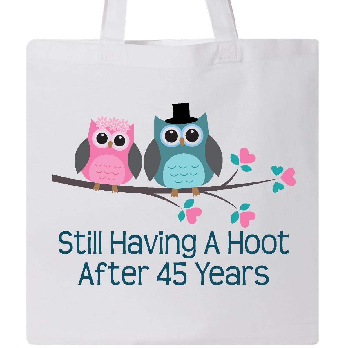 Gift For 45th Wedding Anniversary Hoot Tote Bag White 999 Weddinganniversarytshirts
