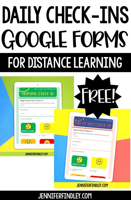 Free Daily Check-In Google Forms for Distance Learning