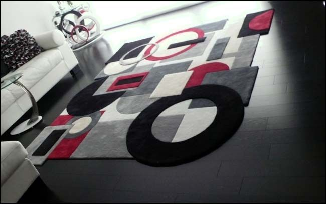 Black and White Modern Rugs | Media buffet custom built for client's electronic equipment.