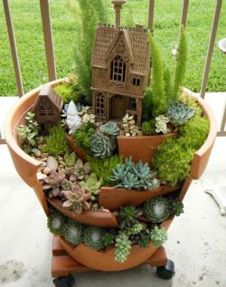 cute design crafts DIY creativity decor recycling succulents fairy garden gardening upcycling gnomes sedums Broken pots