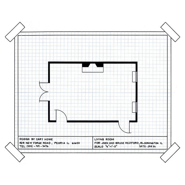 beginning a finished floorplan to scale 1 square on graph paper