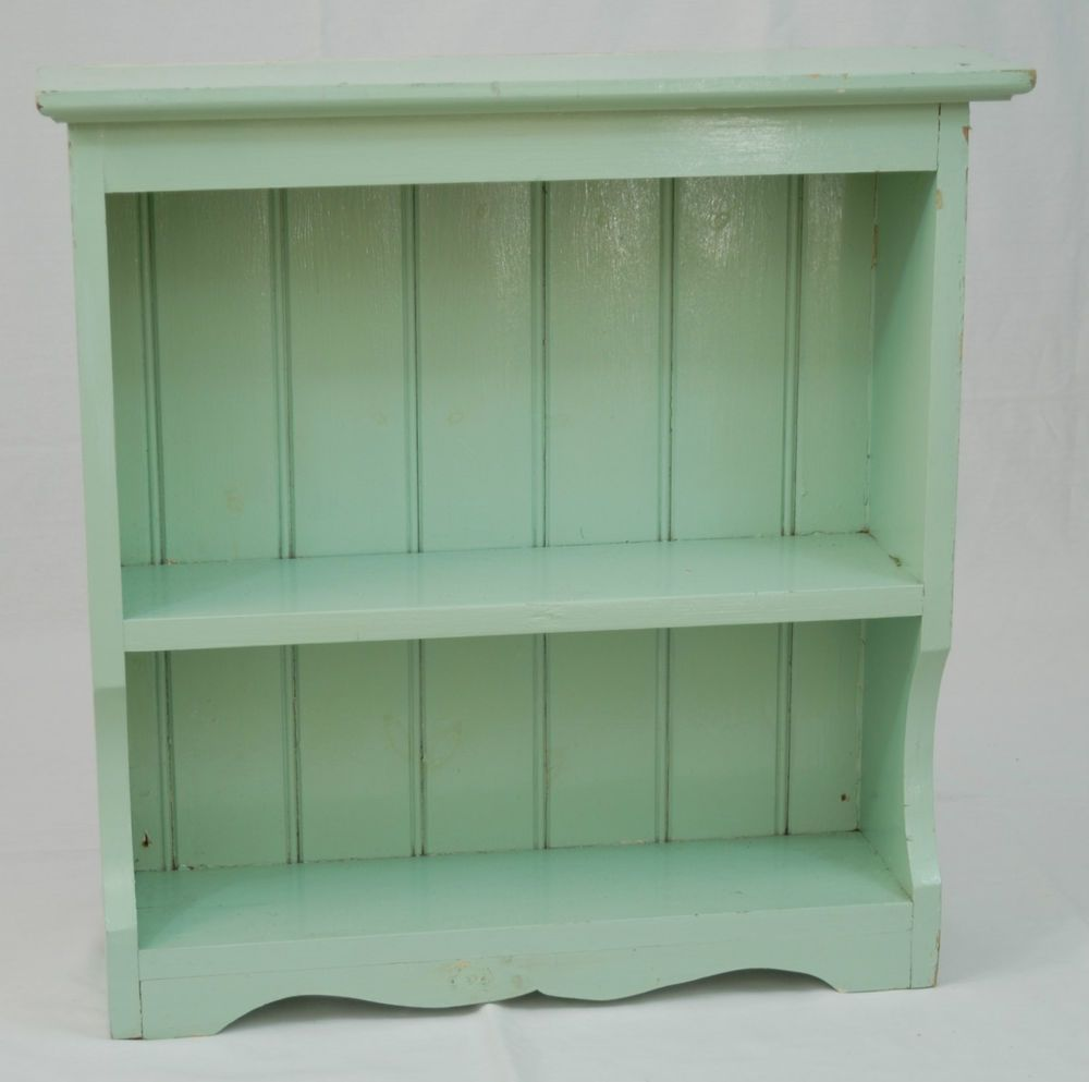 Vintage Shabby Chic Painted Solid Pine 2 Shelf Wall Display Unit