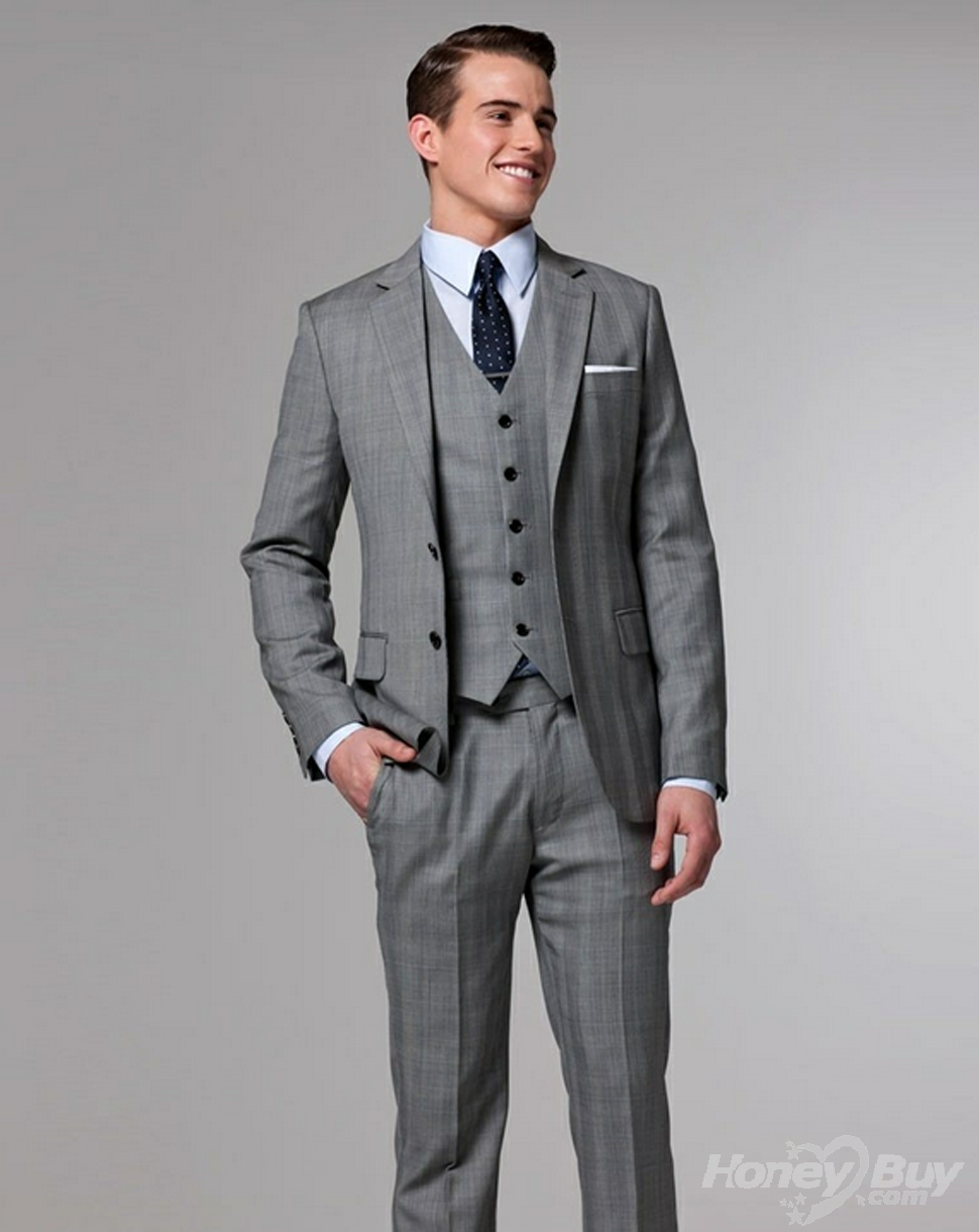 Slim Two Vents Notch Lapel Grey Pinstripes Pocket Square 3 Pieces ...