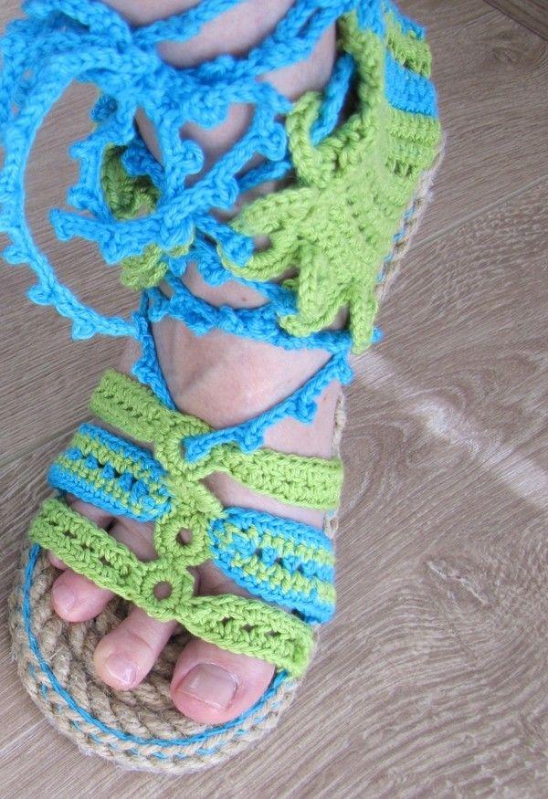 Espadrilles Römer Sandale Mit Outdoor Sohle Gehäkelt Alle Größen