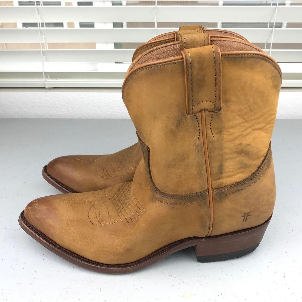 f5f8883edfa NEW Frye Womens Western Billy Short Ankle Boots Cognac Distressed Sz ...