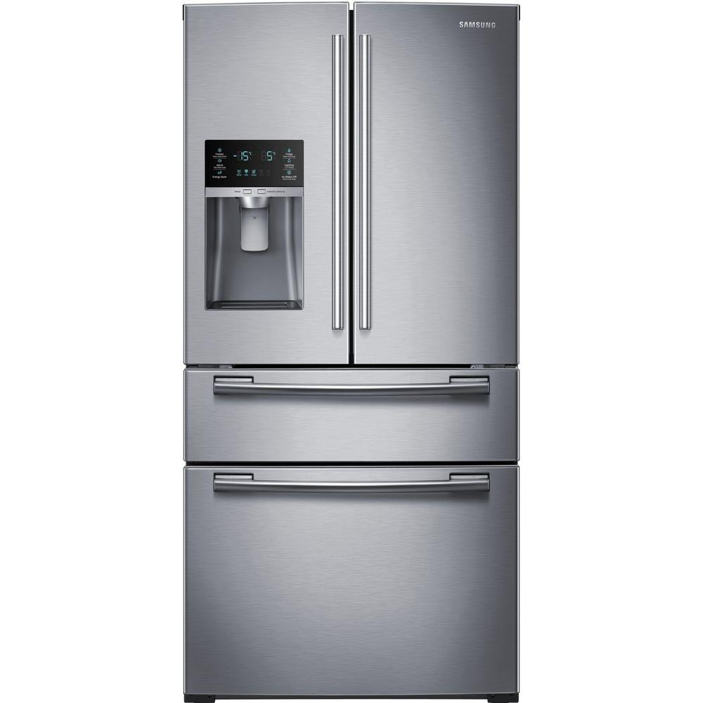 Samsung 33 In W 24 73 Cu Ft 4 Door French Door Refrigerator In
