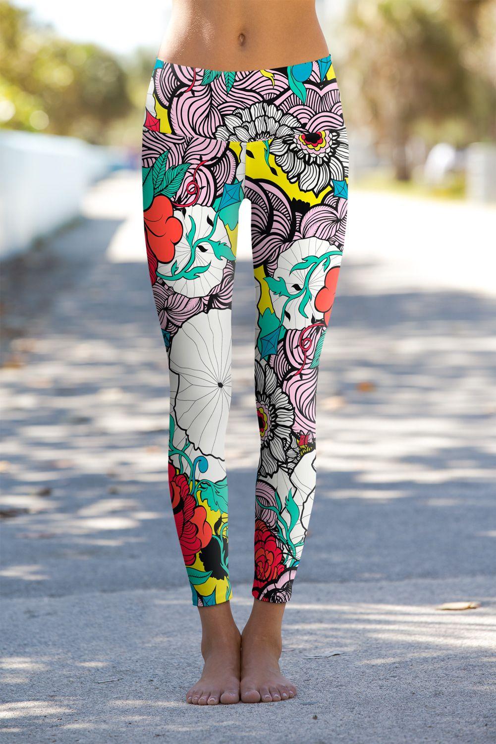 Irene Women Sport Pants Yoga Plus Size Workout Vintage Print Leggings Fitness Athletic