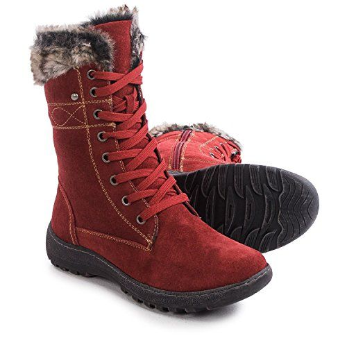 Henri Pierre by Bastien Boots  Waterproof SuedewoolRedSize 7B >>> You can find out more details at the link of the image.
