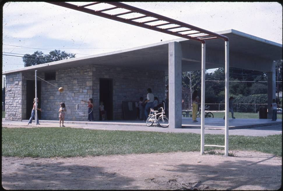 The shelter house at Karns Park. The park is named for