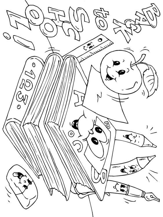 Coloring page back to school - coloring picture back to school. Free ...