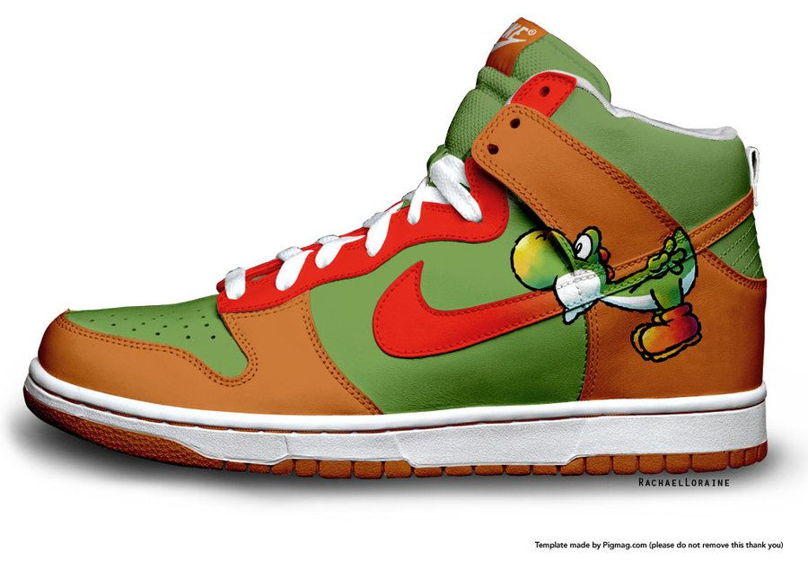 factory authentic 88437 8a7f0 Bowser x Yoshi Nike Dunks High Sneaker Koopa Shoes  Colorful Nikes