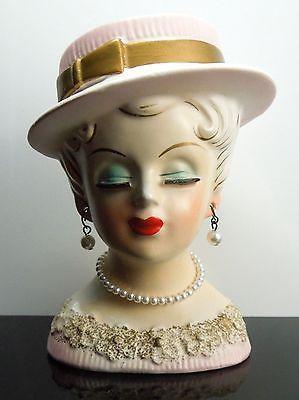 Vintage Lady Head Vase Pearl Necklace & Earrings, Pink Hat