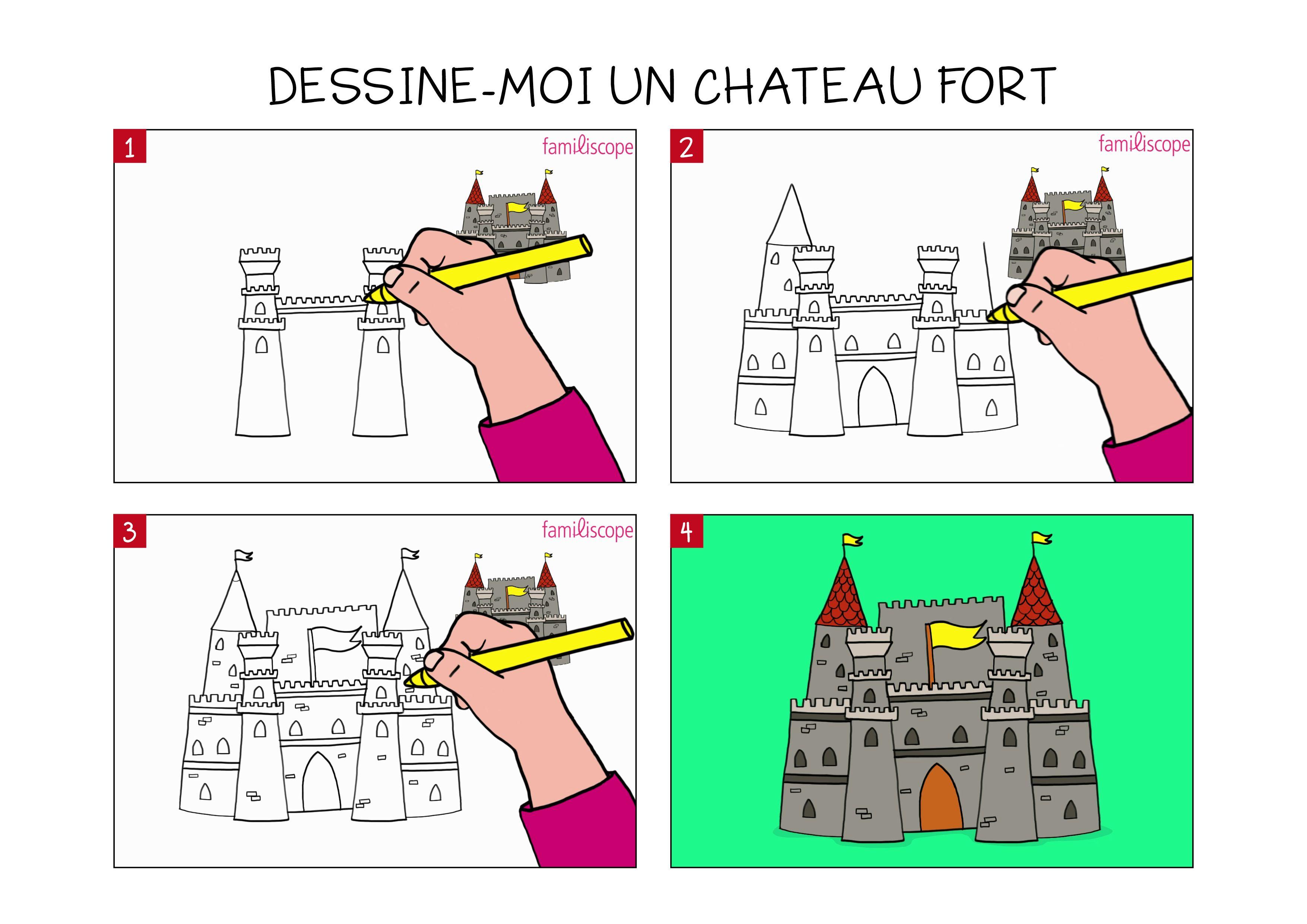 Voici notre tuto pour apprendre à dessiner un château fort. Retrouvez nos tutos gratuits sur Familiscope.fr