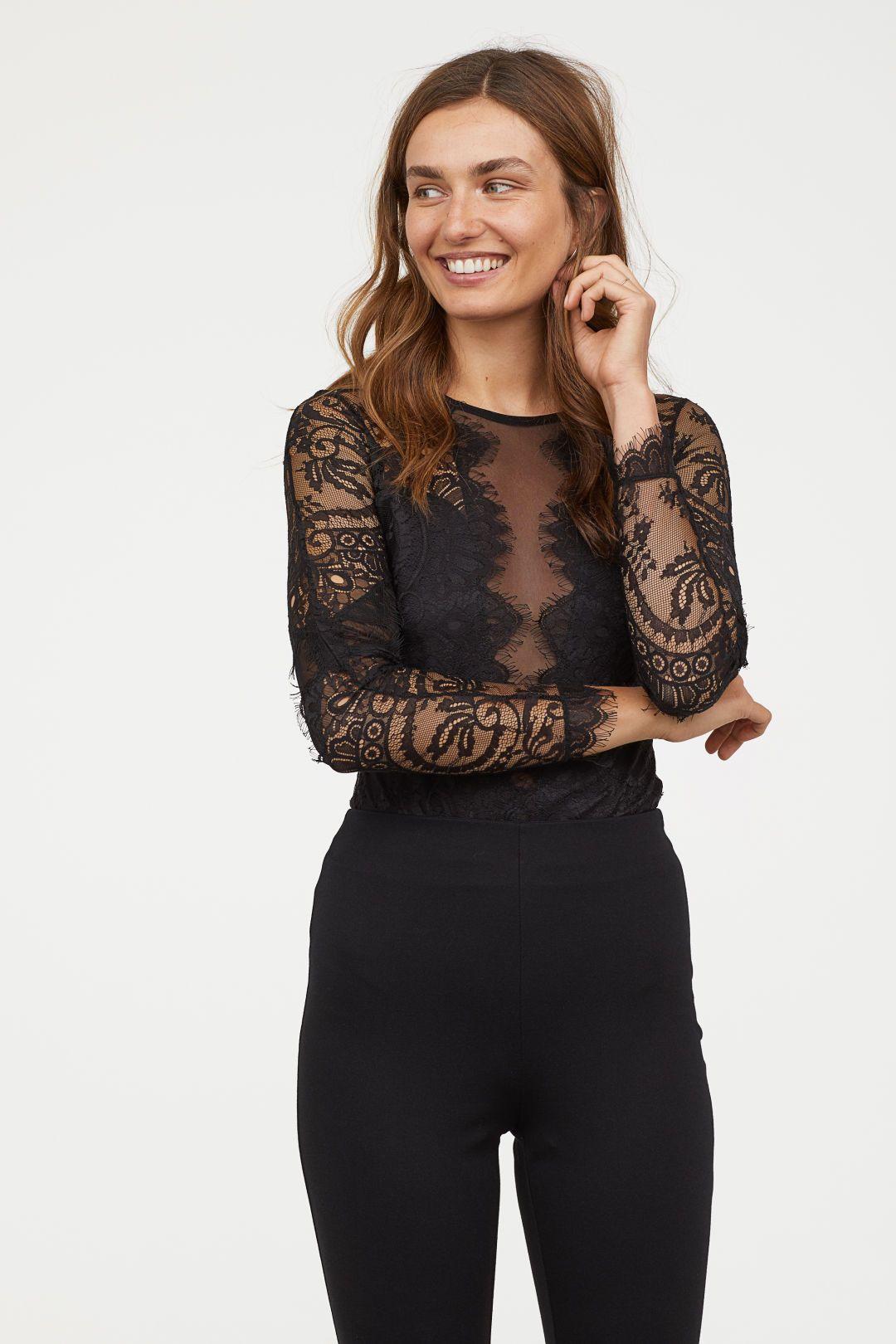 2019 En Estilo Body Lace Sleeve Long Bodysuit De Encaje qfWnSgntZ