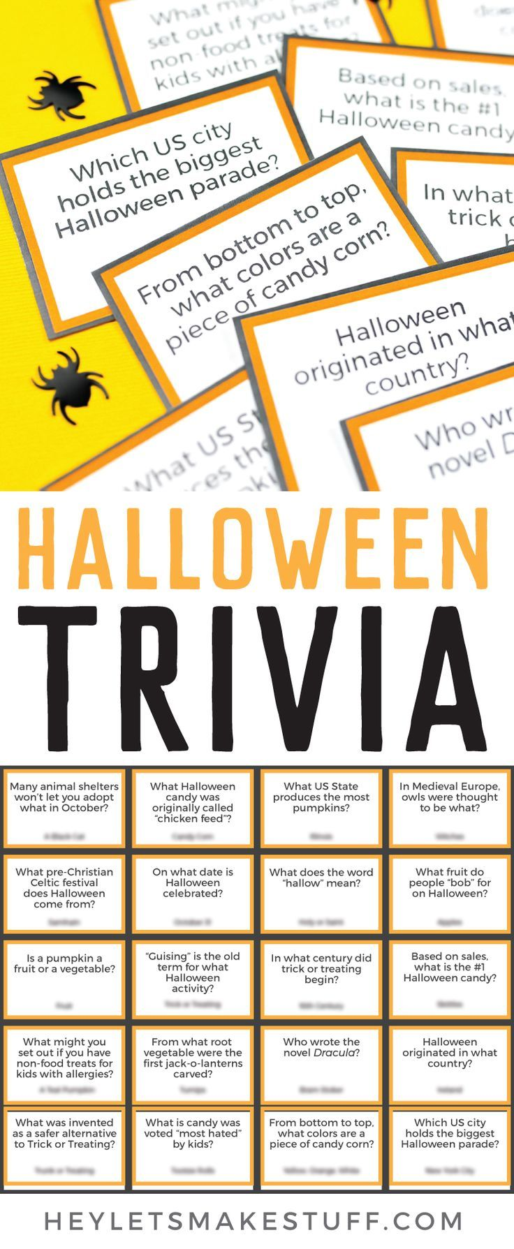 Printable Halloween Trivia (With images) Halloween facts