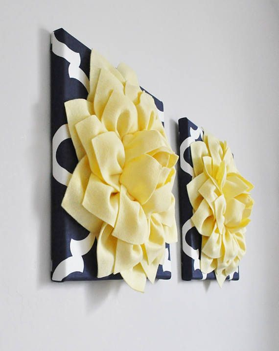 Light Yellow and Navy Moroccan wall hanging Set - Set of 2 ...