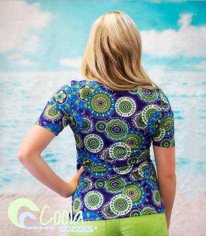 Coola Cozzies women's UPF50+ short sleeve rashie/swim shirt in sizes 10 to 24. Beach Belle.  #womensswimwear #swimwear #coveredswimwear