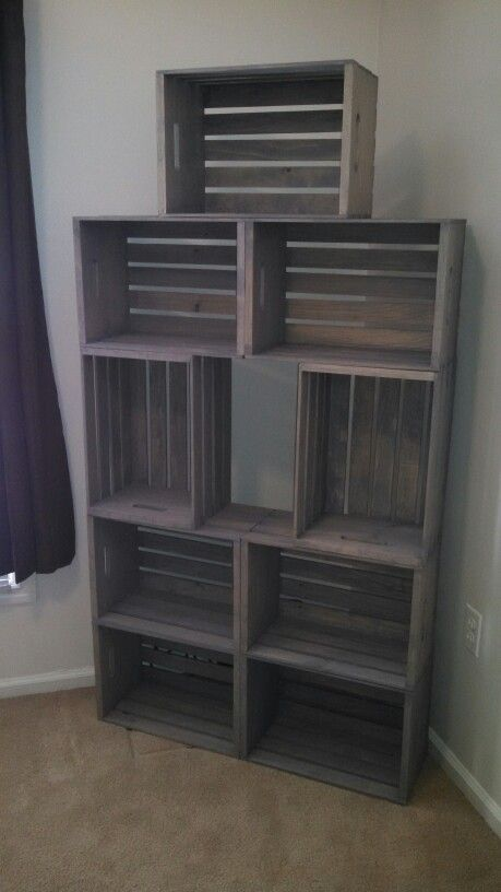 Groovy Made My Own Rustic Wood Bookshelf With Crates Crates From Download Free Architecture Designs Photstoregrimeyleaguecom