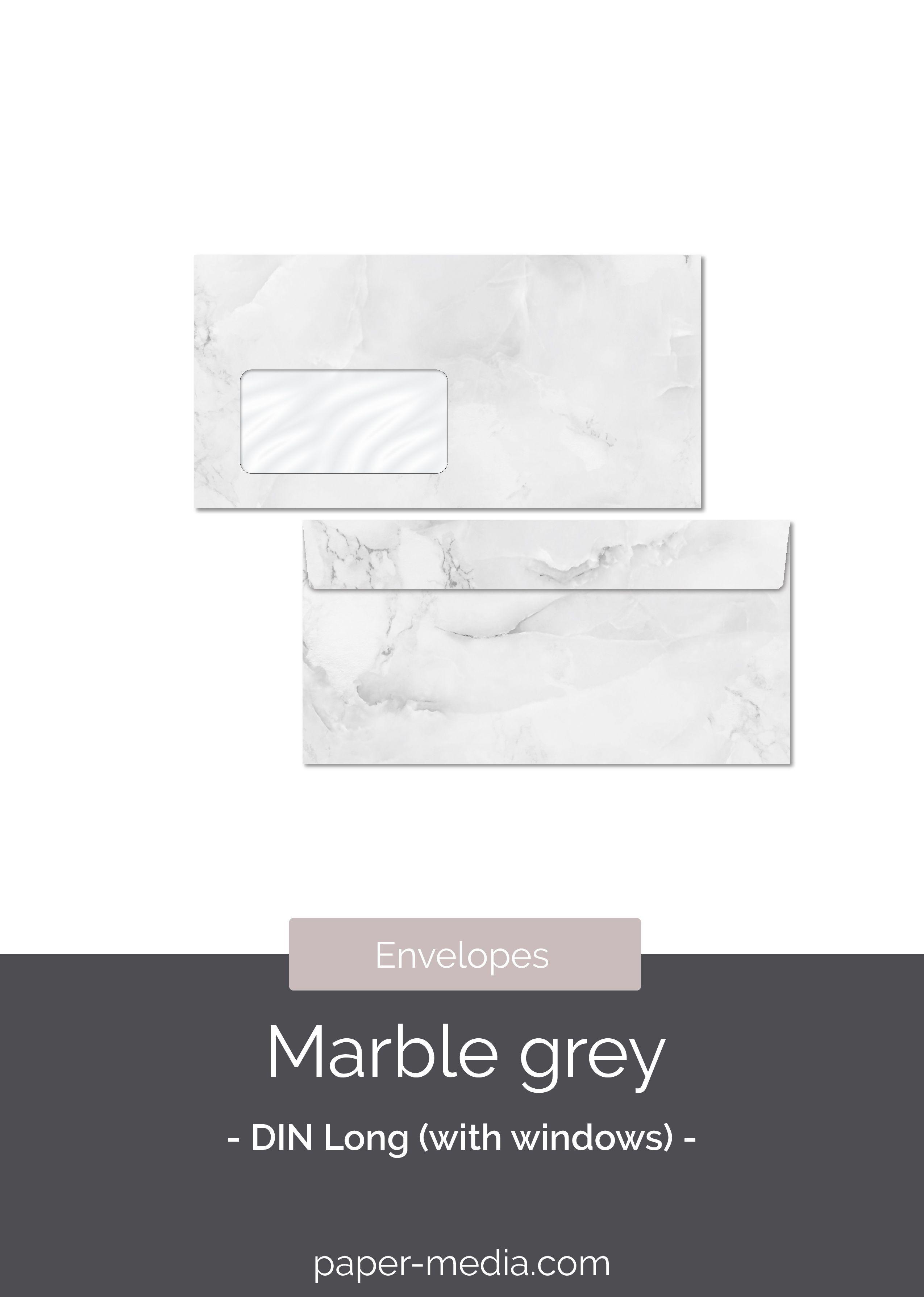 Envelopes Marble Grey Din Long With Windows In 2020 Envelope Marble Elegant Stone