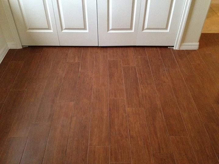 """bedrooms tiled with 6x24 Panaria - Iroko """"wood look"""
