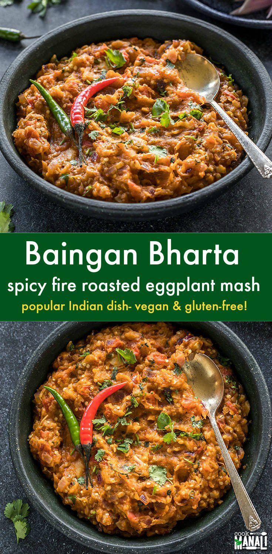Spicy fire roasted eggplant mash, Baingan Bharta is best enjoyed with roti or parathas. This Punjabi Baingan Bharta recipe uses minimal spices for the best results! Vegan & gluten-free.