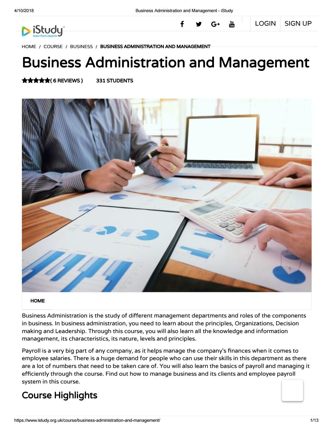 Business Administration And Management Istudy Free Online Courses