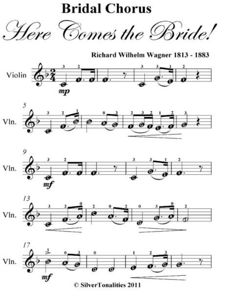 Bridal Chorus Here Comes The Bride Easy Violin Sheet Music By