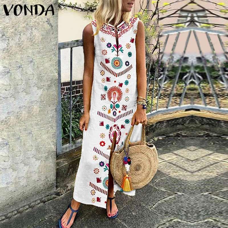 5f67fb4273 Tanie  VONDA Kobiety Floral sukienka z nadrukiem 2019 Lato Boho Casual  Loose Rękawów Podziel Hem Sukienek Długi Kaftan Vestidos Plus Size
