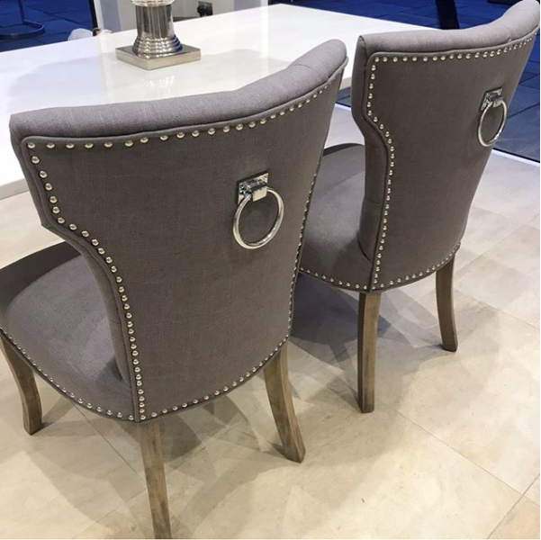 Grey Linen Ring Back Dining Chairs With Chrome Stud Detail In Stock And Ready For Delivery Diningchair D Grey Dining Room Chairs Grey Dining Room Interior