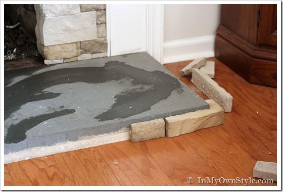 How To Paint A Concrete Hearth To Look Like Stone Fireplace Hearth And Hearths