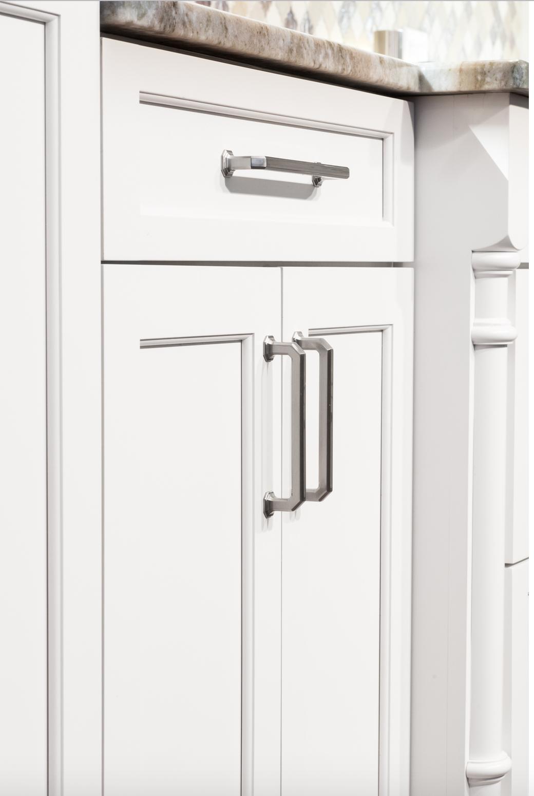 White Kitchen Cabinets, Dark wood Island, Mosaic ...