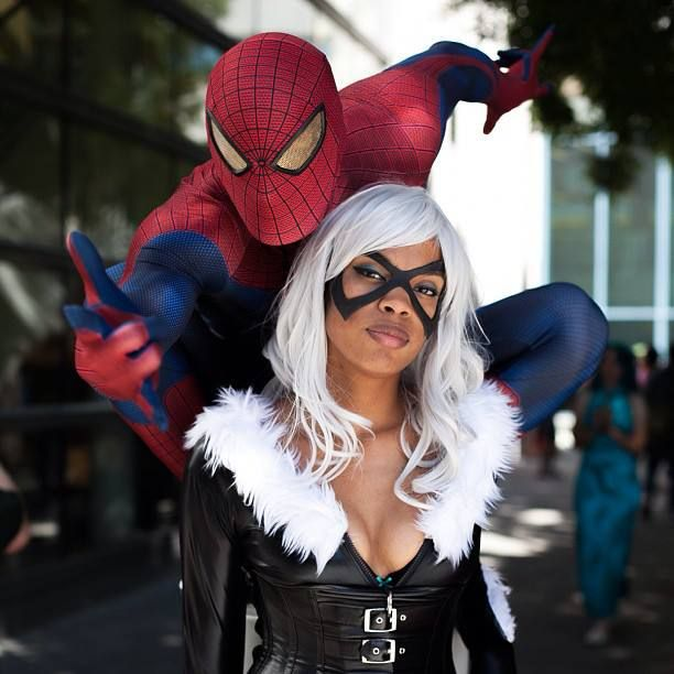 Spider-Man and Black Cat cosplay. View more EPIC cosplay at http://pinterest.com/SuburbanFandom/cosplay/
