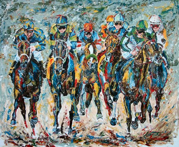 Horse Racing Art Limited Edition Print Small Giclee