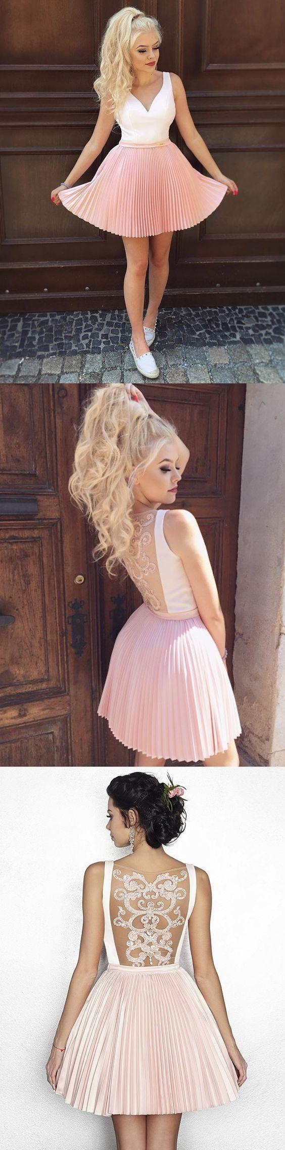 Chic aline pink white homecoming dress cheap cute short prom dress