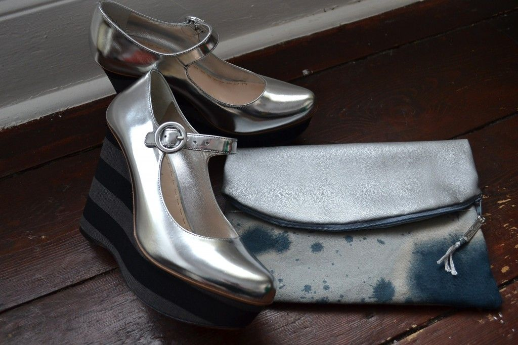 Rianna Phillips 'Fold Over' clutch bag (from £22) and Prada SS11 wedges