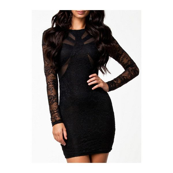 Sexy Round Neck Long Sleeve Solid Black Mini Dress ($25) ❤ liked on Polyvore featuring dresses, outfits, black, pattern dress, sleeved dresses, long sleeve sheath dress, print dress and long sleeve print dress
