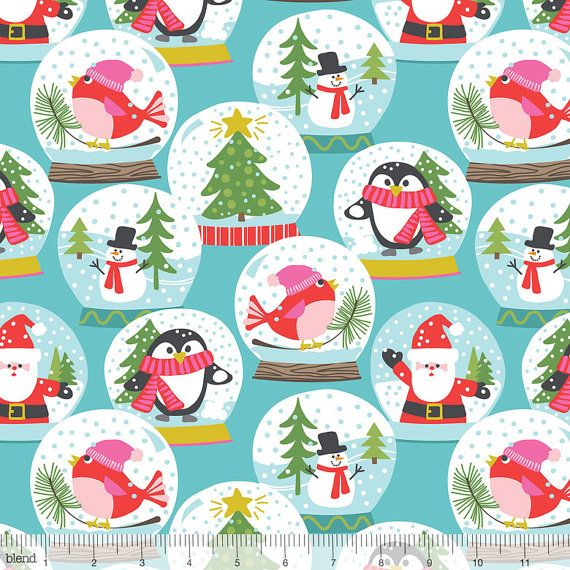 Christmas Snow Globes on Blue from Blend Fabric's Even a