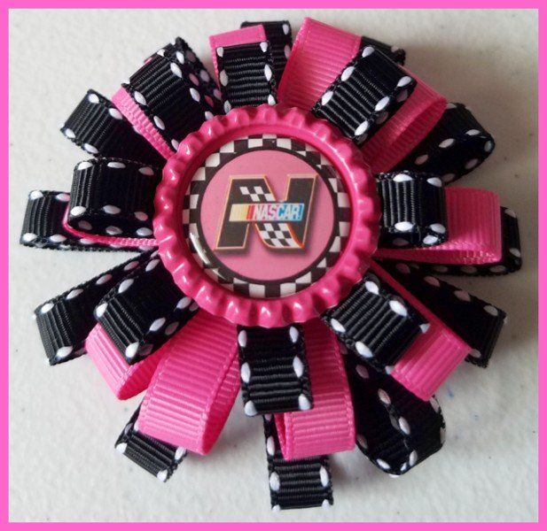 Nascar 3 Layer Bottle Cap Hair Bow #A2 (you choose image and ribbon colors)