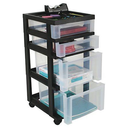 Brand Plastic Storage Cart 4 Drawers 26 7 16 H X 12 1 16 W X 14